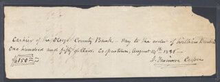 JAMES FENIMORE COOPER - AUTOGRAPH CHECK SIGNED 08/14/1835