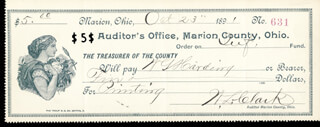 Autographs: PRESIDENT WARREN G. HARDING - CHECK ENDORSED 10/23/1891 CO-SIGNED BY: W. L. CLARK