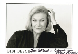 BIBI BESCH - INSCRIBED PRINTED PHOTOGRAPH SIGNED IN INK