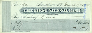 THOMAS NAST - AUTOGRAPHED SIGNED CHECK 03/19/1895