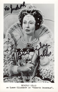 BEVERLY SILLS - INSCRIBED PRINTED PHOTOGRAPH SIGNED IN INK