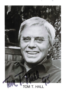 TOM T. HALL - PRINTED PHOTOGRAPH SIGNED IN INK 1993