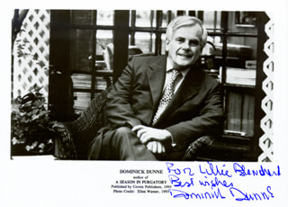 DOMINICK DUNNE - AUTOGRAPHED INSCRIBED PHOTOGRAPH
