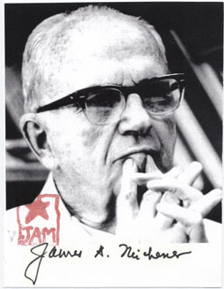 JAMES A. MICHENER - AUTOGRAPHED SIGNED PHOTOGRAPH