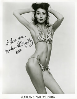 MARLENE WILLOUGHBY - PRINTED PHOTOGRAPH SIGNED IN INK