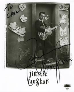 JIMMIE VAUGHAN - INSCRIBED PRINTED PHOTOGRAPH SIGNED IN INK