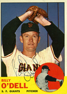 BILLY DIGGER O'DELL - TRADING/SPORTS CARD SIGNED