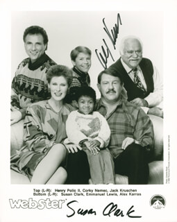 WEBSTER TV CAST - PRINTED PHOTOGRAPH SIGNED IN INK CO-SIGNED BY: ALEX KARRAS, SUSAN CLARK