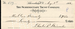 CHARLES P. STEINMETZ - AUTOGRAPHED SIGNED CHECK 08/08/1904