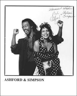 ASHFORD & SIMPSON - AUTOGRAPHED SIGNED PHOTOGRAPH CO-SIGNED BY: ASHFORD & SIMPSON (NICKOLAS ASHFORD), ASHFORD & SIMPSON (VALERIE SIMPSON)