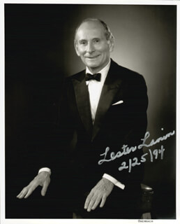 LESTER LANIN - AUTOGRAPHED SIGNED PHOTOGRAPH 02/25/1994
