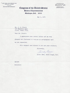 Autographs: LINDY (MRS. HALE) BOGGS - TYPED LETTER SIGNED 05/03/1973