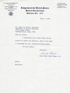 Autographs: LINDY (MRS. HALE) BOGGS - TYPED LETTER SIGNED 03/07/1975