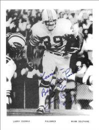 LARRY CSONKA - INSCRIBED PRINTED PHOTOGRAPH SIGNED IN INK