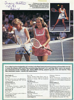 TRACY AUSTIN - MAGAZINE PHOTOGRAPH SIGNED 12/06/1977
