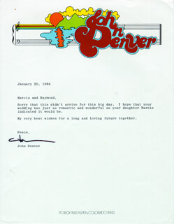 JOHN DENVER - TYPED LETTER SIGNED 01/20/1984