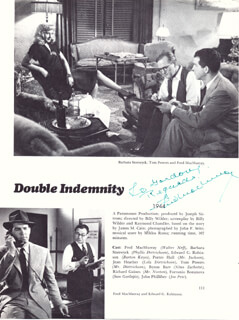 FRED MacMURRAY - INSCRIBED BOOK PAGE SIGNED