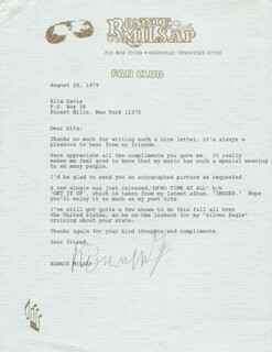RONNIE MILSAP - TYPED LETTER SIGNED 08/28/1979