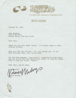 RONNIE MILSAP - TYPED LETTER SIGNED 10/17/1979
