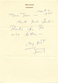 JERRY STILLER - AUTOGRAPH LETTER SIGNED 03/16/1975