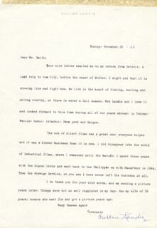 CULLEN LANDIS - TYPED LETTER SIGNED 11/28/1966