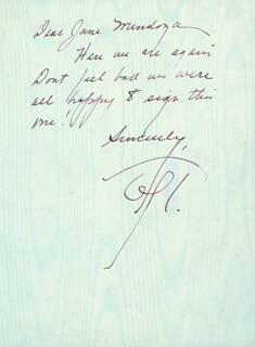 GERALDINE PAGE - AUTOGRAPH NOTE SIGNED