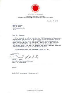 DAVID L. WEIDE - TYPED LETTER SIGNED 10/07/1980