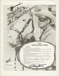 CLAYTON THE LONE RANGER MOORE - INSCRIBED LEAFLET SIGNED 1978