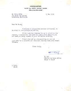 Autographs: GENERAL PIERRE FAY - TYPED LETTER SIGNED 05/12/1953