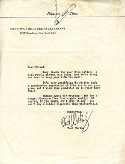 FRED WARING - TYPED LETTER SIGNED