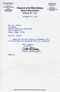 Autographs: PAUL N. PETE McCLOSKEY JR. - TYPED NOTE SIGNED 11/20/1973