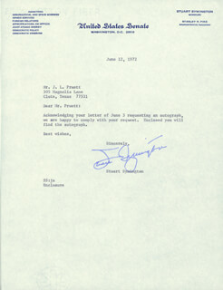 W. STUART SYMINGTON - TYPED NOTE SIGNED 06/12/1972