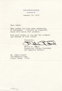 MELVIN R. LAIRD - TYPED LETTER SIGNED 01/24/1974