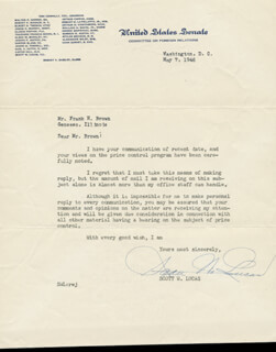 SCOTT W. LUCAS - TYPED LETTER SIGNED 05/07/1946