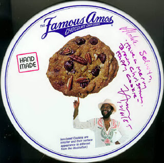 Autographs: WALLY FAMOUS AMOS AMOS - INSCRIBED EPHEMERA SIGNED 12/11/1985