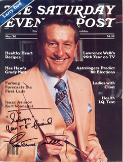 LAWRENCE WELK - INSCRIBED MAGAZINE SIGNED CIRCA 3/1980
