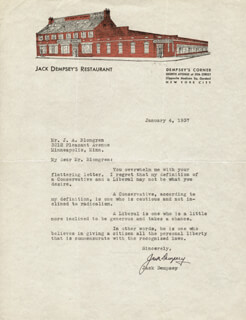 JACK DEMPSEY - TYPED LETTER SIGNED 01/04/1937