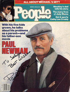 PAUL NEWMAN - INSCRIBED MAGAZINE COVER SIGNED