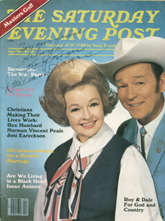 ROY ROGERS - INSCRIBED MAGAZINE COVER SIGNED CO-SIGNED BY: DALE EVANS