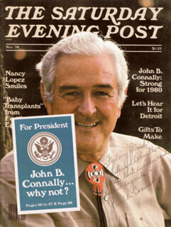 JOHN B. CONNALLY JR. - INSCRIBED MAGAZINE COVER SIGNED