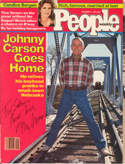 JOHNNY CARSON - INSCRIBED MAGAZINE COVER SIGNED