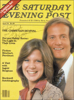PAT BOONE - INSCRIBED MAGAZINE SIGNED CO-SIGNED BY: DEBBY BOONE