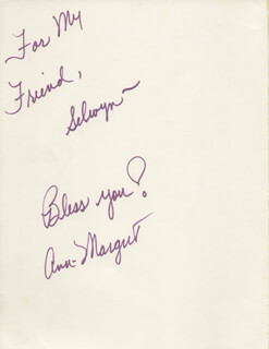ANN-MARGRET - INSCRIBED BOOK SIGNED