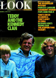 EDWARD TED KENNEDY - INSCRIBED MAGAZINE TRIPLE SIGNED