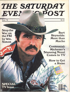 BURT REYNOLDS - INSCRIBED MAGAZINE SIGNED CIRCA 1978