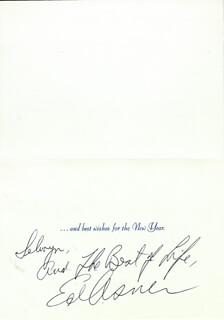 ED ASNER - INSCRIBED CHRISTMAS / HOLIDAY CARD SIGNED
