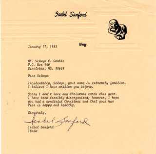 ISABEL WEEZY SANFORD - TYPED LETTER SIGNED 01/17/1983