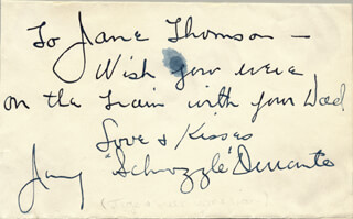 JIMMY SCHNOZZOLA DURANTE - AUTOGRAPH NOTE SIGNED