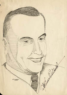 MAJOR EDWARD V. EDDIE RICKENBACKER - ILLUSTRATION SIGNED CIRCA 1943