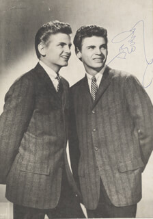 THE EVERLY BROTHERS - AUTOGRAPHED SIGNED PHOTOGRAPH CO-SIGNED BY: EVERLY BROTHERS (DON EVERLY), EVERLY BROTHERS (PHIL EVERLY)